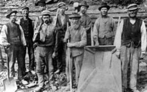 Arbetslag vid Rödstensbrottet 1895
