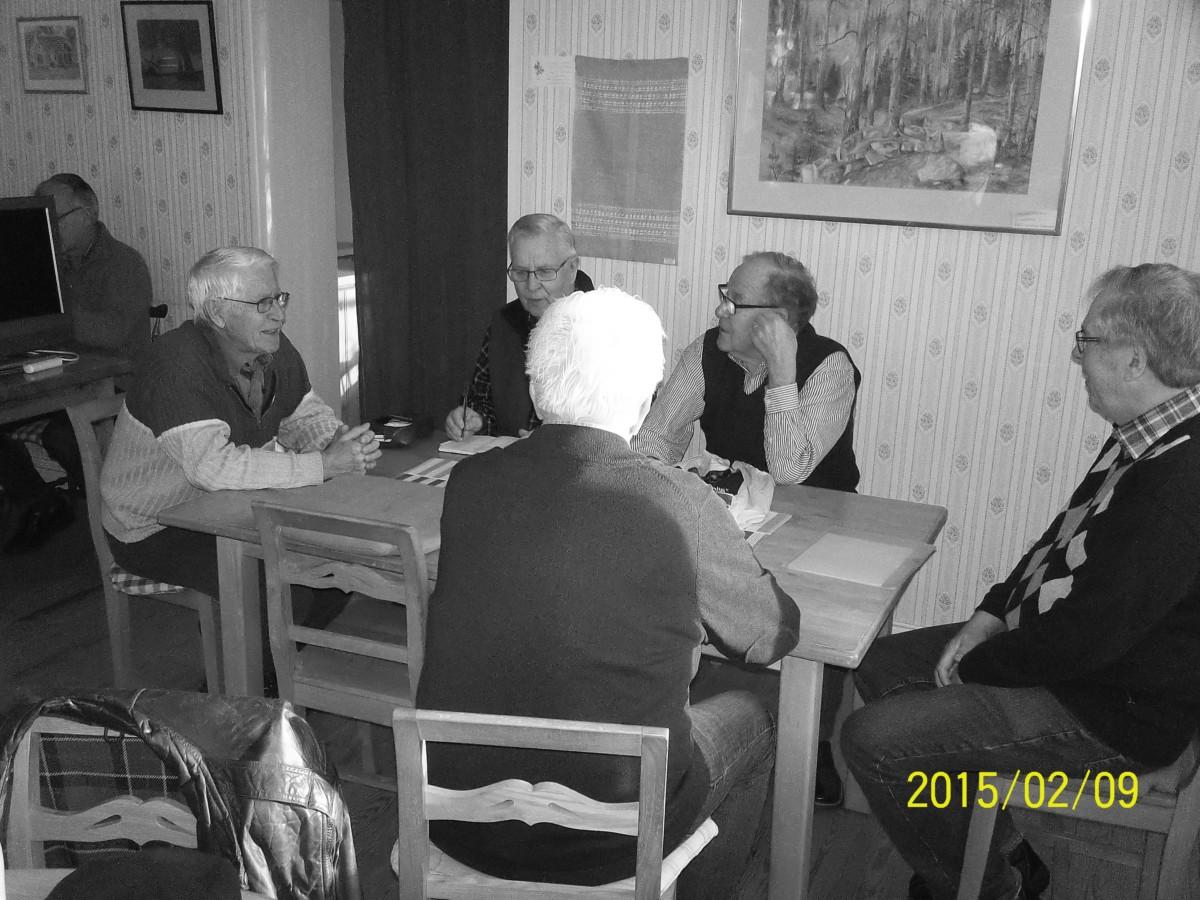 Bild3973 Hällekisgruppen Fr.v. Lennart Olsson,Bengt Sjöstedt,Ingemar Green,Roland Andersson med ryggen häråt,Stellan Hallen,Lars Apell