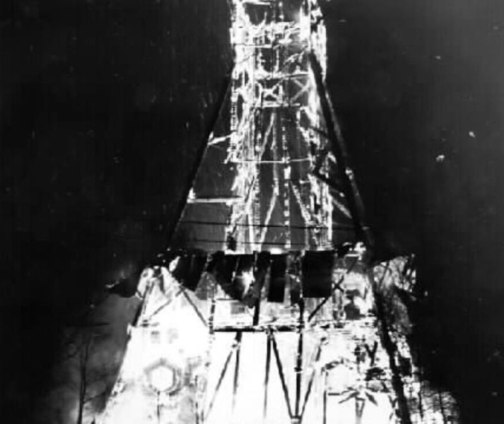 Bild 2516 Utsiktstornet Kinnekulle Medelplana. Branden 1980
