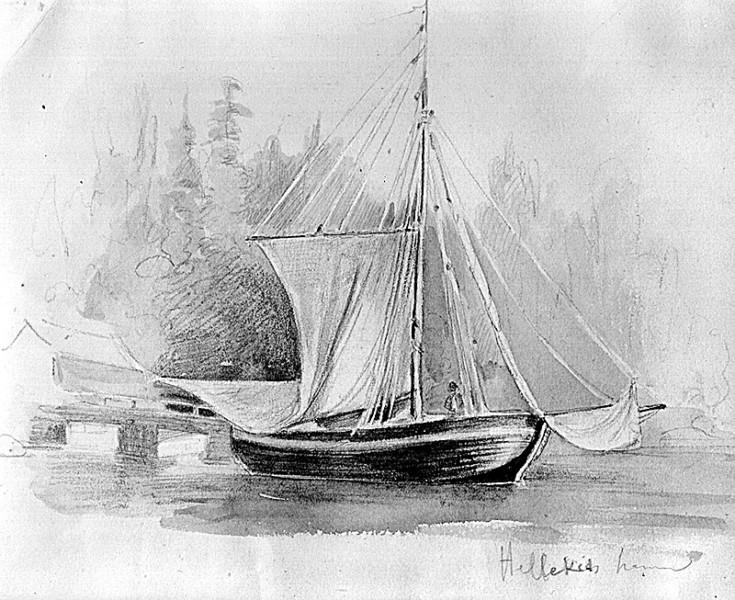 Bild 047 Hellekis hamn och säteri, teckning Dardel