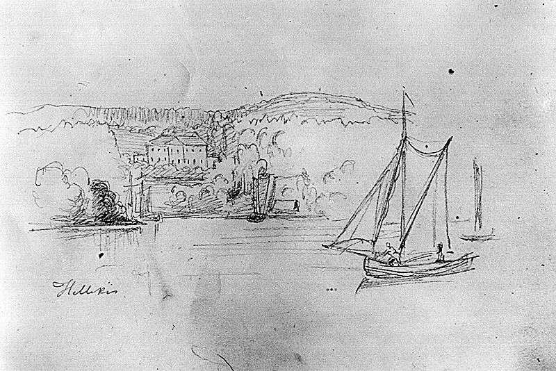Hellekis hamn och säteri, teckning Dardel