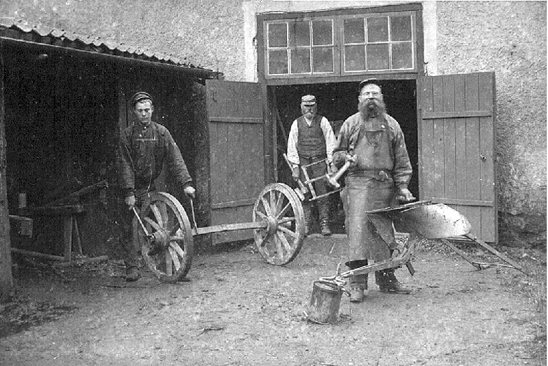 Malcom Blom Hellekis hamn, Per Andersson smed, Nikolaus Andersson snickare, Foto 1897
