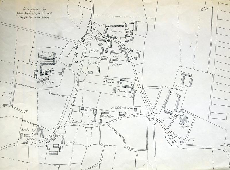 Österplana by före laga skifte år 1841. Skala 1:1000